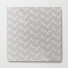 Minimal Crosses Stone and White | Pattern Metal Print