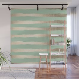 Simply Brushed Stripes White Gold Sands on Pastel Cactus Green Wall Mural