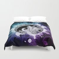 roller derby Duvet Covers featuring Nouveau Roller Derby World by Mean Streak