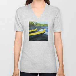 Outriggers on Hawaii's Big Island Black Sand Beach Unisex V-Neck