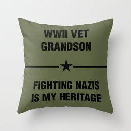 WWII Grandson Heritage Throw Pillow
