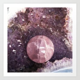 Amethyst and Pink Quartz Gemstone Art Print
