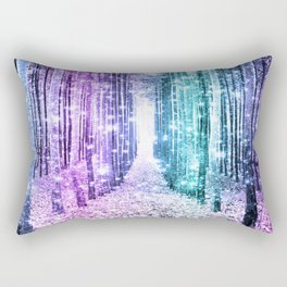 Magical Forest Lavender Aqua Teal Ombre Rectangular Pillow