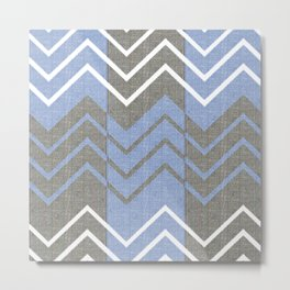 Chambray Chevron Metal Print