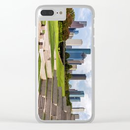 Downtown Houston Skyline from Police Officer's Memorial Clear iPhone Case