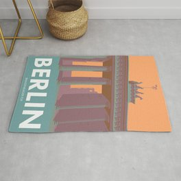 Berlin Vintage Travel Poster Style Brandenburger Tor Rug