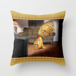 Father And Son Couch Potatoes Throw Pillow