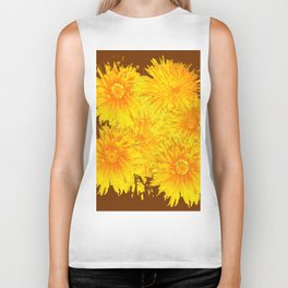 ABSTRACTED COFFEE BROWN   FIRST SPRING YELLOW DANDELIONS Biker Tank