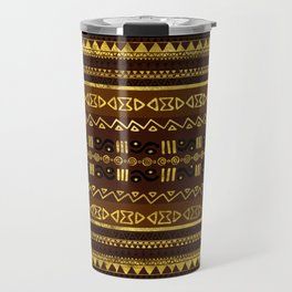 Ethnic African Golden Pattern on brown Travel Mug