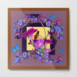 Puce Purple Morning Glories Butterfly Patterns Brown Art Metal Print