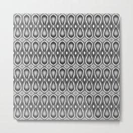 Ikat Teardrops in Shades of Gray Metal Print