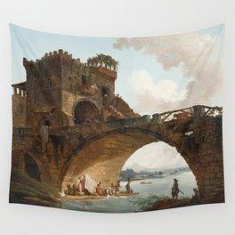 The Ponte Salario Oil painting by Hubert Robert Wall Tapestry