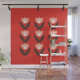 Tulip Field in Red Wall Mural