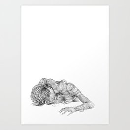 line drawing of a nude model Art Print
