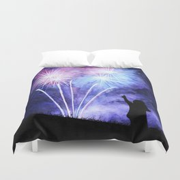 Blue and pink fireworks Duvet Cover