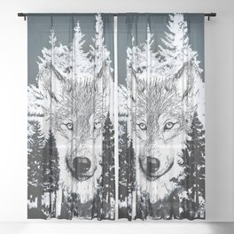Forest Wolf Art Sheer Curtain