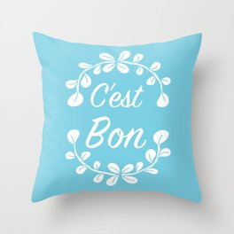 Inspirational Quote Illustrated Print French Saying in Blue Throw Pillow