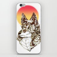 kitsune iPhone & iPod Skins featuring Kitsune by South Spire Seven