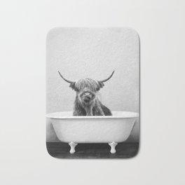 Highland Cow in a Vintage Bathtub (bw) Bath Mat