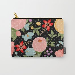 Colorful pink black white polka dots floral illustration Carry-All Pouch