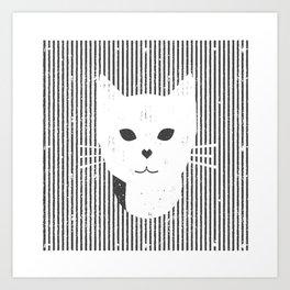Stripe Kitty Art Print