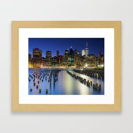 Lower Manhattan at Night Framed Art Print