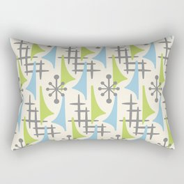 Mid Century Modern Atomic Wing Composition 92 Blue Chartreuse and Gray Rectangular Pillow