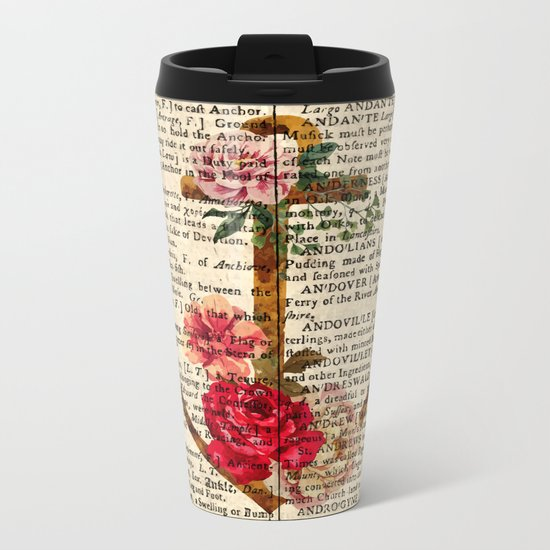 Vintage Anchor with Flowers Dictionary Art Metal Travel Mug