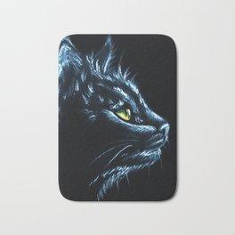 Black Cat Portrait White Charcoal Art Bath Mat