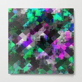 psychedelic square pixel pattern abstract background in green pink blue Metal Print