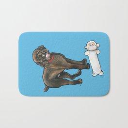 Milo the Poodle with his Monkey Bath Mat