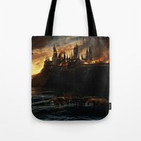 harry potter Tote Bags featuring Harry Potter - Hogwart's Burning by Juniper Vinetree