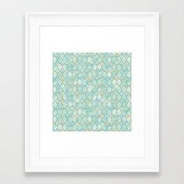 Luxury Aqua and Gold oriental pattern Framed Art Print