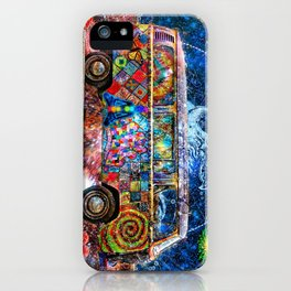 Hippie Trippy Magic Mushroom Bus  iPhone Case