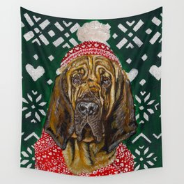 Bloodhound in a Hat and Scarf Wall Tapestry