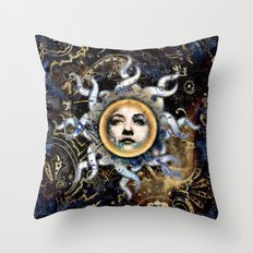 Psychedelic Paisley Sun Throw Pillow