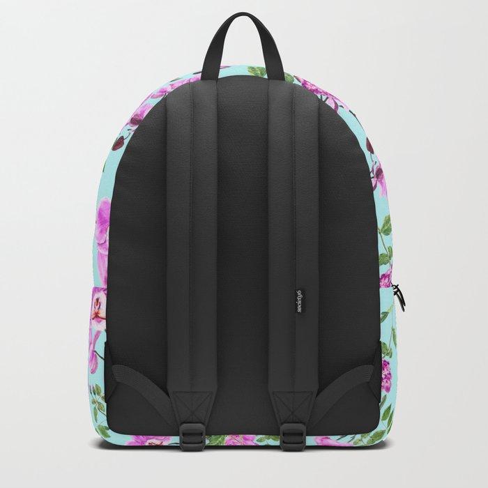 pink purple flowers watercolor painting Backpack