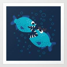 Gossiping Blue Piranha Fish Art Print