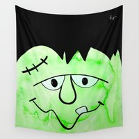 frankenstein Wall Tapestries featuring Frankenstein by HollyJonesEcu