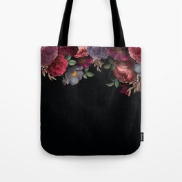 Vintage & Shabby Chic - Night Antique Redoute Roses Frame On Black Tote Bag