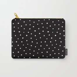 Minimal- Small white polka dots on black -Mix & Match with Simplicty of life Carry-All Pouch