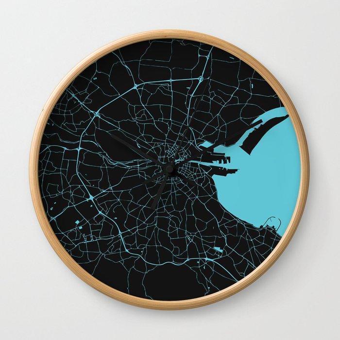 Dublin Ireland Black on Turquoise Street Map Wall Clock
