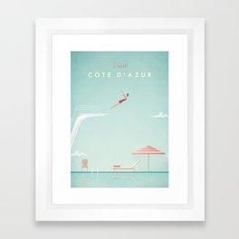 Vintage Côte d'Azur Travel Poster Framed Art Print