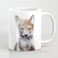 furry Mugs featuring Little Wolf by Amy Hamilton