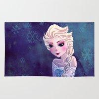 frozen elsa Area & Throw Rugs featuring Elsa Frozen by Kaori
