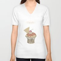 cupcakes V-neck T-shirts featuring Cupcakes by Cecilia Sánchez