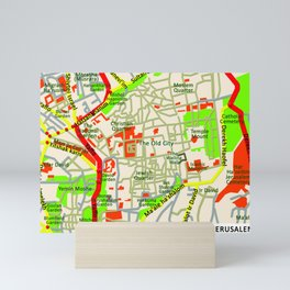 Jerusalem Map , Israel Mini Art Print