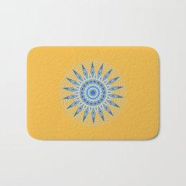 Gold Blue Aztec Mandala Design Bath Mat
