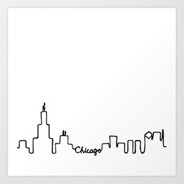 Chicago Skyline Abstract Sketch Art Print