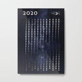 Moon phases calendar 2020 - #4 Metal Print